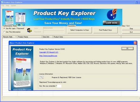 Nsauditor Product Key Explorer 3.3.4.0