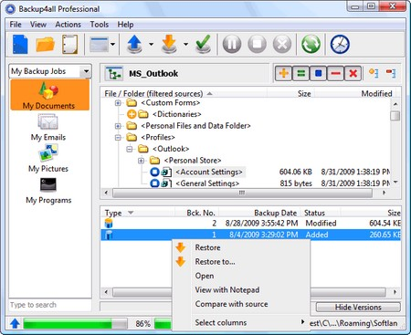 Backup4all Professional 4.7.265